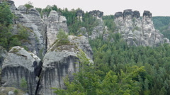 Cliffs of Bastei. Elbe Sandstone Mountains. Saxon Switzerland. Germany - stock footage