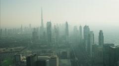 Aerial Dubai Burj Khalifa Skyscraper Sheikh Zayed Road UAE Stock Footage