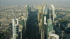 Aerial Dubai City Skyscrapers Sheikh Zayed Road Metro Rail UAE - stock footage