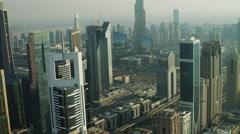Aerial Sheikh Zayed Road traffic Road Metro Rail Dubai UAE - stock footage