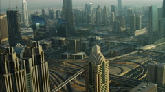 Aerial Dubai Burj Lake Sheikh Zayed Road Metro Rail UAE - stock footage