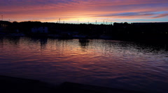 Harbor river or sea  at sunset Stock Footage