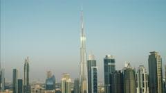 Aerial Burj Khalifa Skyscraper Downtown Dubai Persian Gulf UAE - stock footage