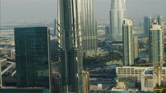 Aerial Dubai Shopping Mall Burj Lake Burj Khalifa Skyscraper UAE - stock footage