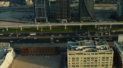 Aerial Dubai Sheikh Zayed Road traffic Dubai Metro Rail UAE - stock footage