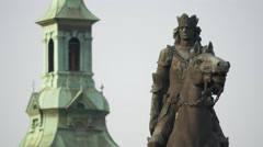 The Battle of Grunwald monument and the St Florian's church tower in Krakow Stock Footage