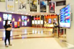 Blur of Defocus Background of People Waiting for attend movie Theater Stock Photos