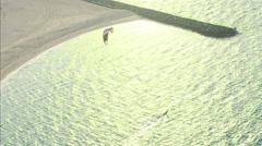Aerial Dubai Kite surfing flying Extreme Sport Persian Gulf UAE Stock Footage