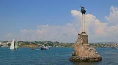 Sevastopol, Crimea. Sunken Ships Monument. Stock Footage