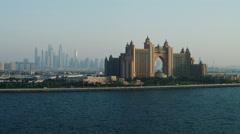 Aerial Atlantis Hotel Dubai Palm Jumeirah UAE - stock footage