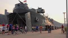 People Visit the LST 325 Docked in Pittsburgh Stock Footage