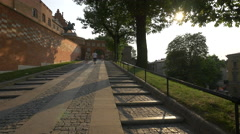 The Entry Gate to Wawel Hill in Krakow Stock Footage