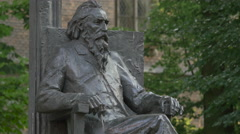 Statue of a man with beard in Krakow Stock Footage