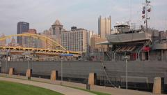 Zoom from Pittsburgh Skyline to LST 325 Stock Footage