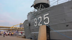 Tilt Down to LST 325 Docked in Pittsburgh Stock Footage