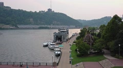 High Angle Zoom In to LST 325 Docked in Pittsburgh Stock Footage