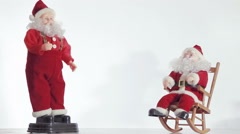 Two of Santa Claus enjoy coming Christmas - stock footage