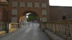 The main entry gate to Wawel Hill in Krakow Stock Footage