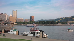 Pan from The Point to LST 325 Docked in Pittsburgh Stock Footage