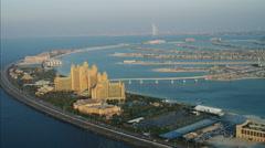 Aerial Atlantis Hotel Resort Dubai Palm Jumeirah Persian Gulf UAE - stock footage