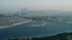 Aerial Atlantis Hotel Dubai Skyscrapers Palm Jumeirah UAE - stock footage