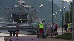 North Shore Activity Near the Docked LST-325 in Pittsburgh Stock Footage