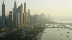 Aerial Dubai Skyscrapers Media city Yacht Marina Persian Gulf UAE - stock footage