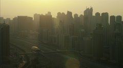 Aerial Dubai Skyscrapers Sheikh Zayed Road Dubai Metro Rail UAE - stock footage
