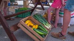 Fresh vegetable on fair Stock Footage