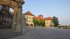 Old building in the interior courtyard of Krakow Fortress Stock Footage