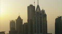 Aerial Dubai Office Skyscrapers Architecture Persian Gulf UAE - stock footage