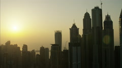 Aerial Dubai Apartments Skyscrapers Persian Gulf UAE - stock footage