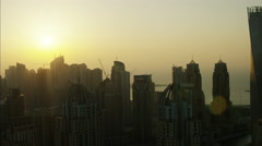 Aerial Dubai Office Apartments Skyscrapers Persian Gulf UAE - stock footage