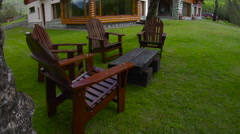 Lawn Furniture Tilt to Lodge Stock Footage