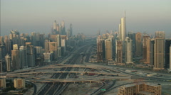 Aerial Dubai Sheikh Zayed Road Intersection Skyscrapers UAE - stock footage