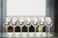 Seven glasses of wines empty Stock Photos