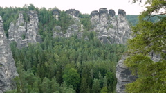 Bastei cliffs. Elbe Sandstone Mountains. Saxon Switzerland National Park Germany Stock Footage