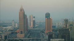 Aerial Dubai Business Central Towers Media city Sheikh Zayed Road Stock Footage