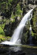 Scenic Muehtinsky waterfall in Altai Republic Stock Photos