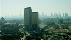 Aerial Dubai Skyscrapers Apartments desert Persian Gulf UAE Stock Footage