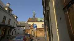 Entry gate to the Church of St Joseph, Krakow Stock Footage