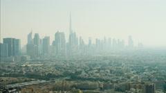 Aerial Dubai Burj Khalifa Skyscraper Persian Gulf UAE - stock footage