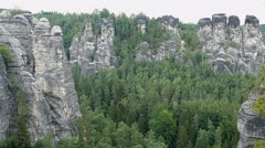 Panoramic view at Bastei cliffs. Sandstone Mountains. Saxon Switzerland, Germany Stock Footage