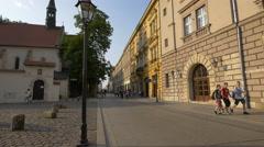 Walking near the Kościół św,Idziego, Krakow Stock Footage