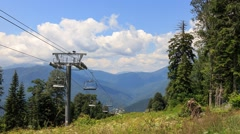 Cable lift in the summer. TimeLapse. Plateau Laura, Sochi, Russia. 1280x720 - stock footage