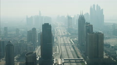 Aerial Dubai Media city Sheikh Zayed Road Dubai Metro Rail UAE - stock footage