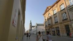 Walking on Grodzka Street in Krakow Stock Footage