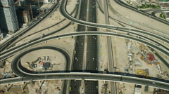 Aerial Dubai Sheikh Zayed Road Intersection Dubai Metro UAE - stock footage