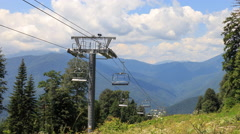 Chairlift in the summer. Time Lapse. Plateau Laura, Sochi, Russia. 4K - stock footage