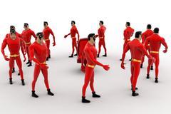 3d superhero  standing in circular queue concept - stock illustration